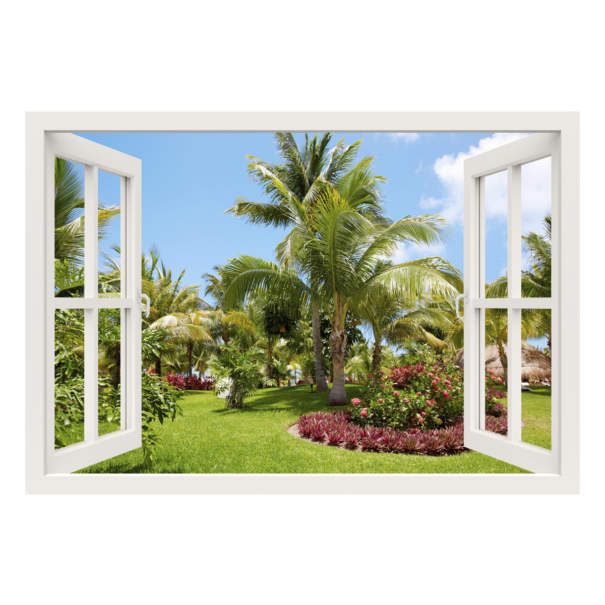 Sticker muraux trompe l 39 oeil sticker mural jardin tropical ambiance - Trompe l oeil jardin ...
