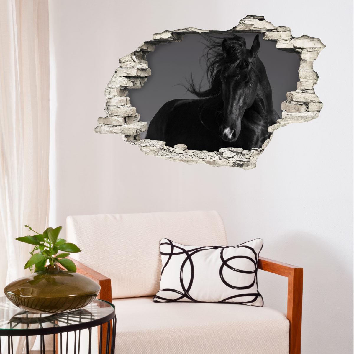 sticker trompe l 39 oeil l 39 talon noir stickers animaux chevaux ambiance sticker. Black Bedroom Furniture Sets. Home Design Ideas
