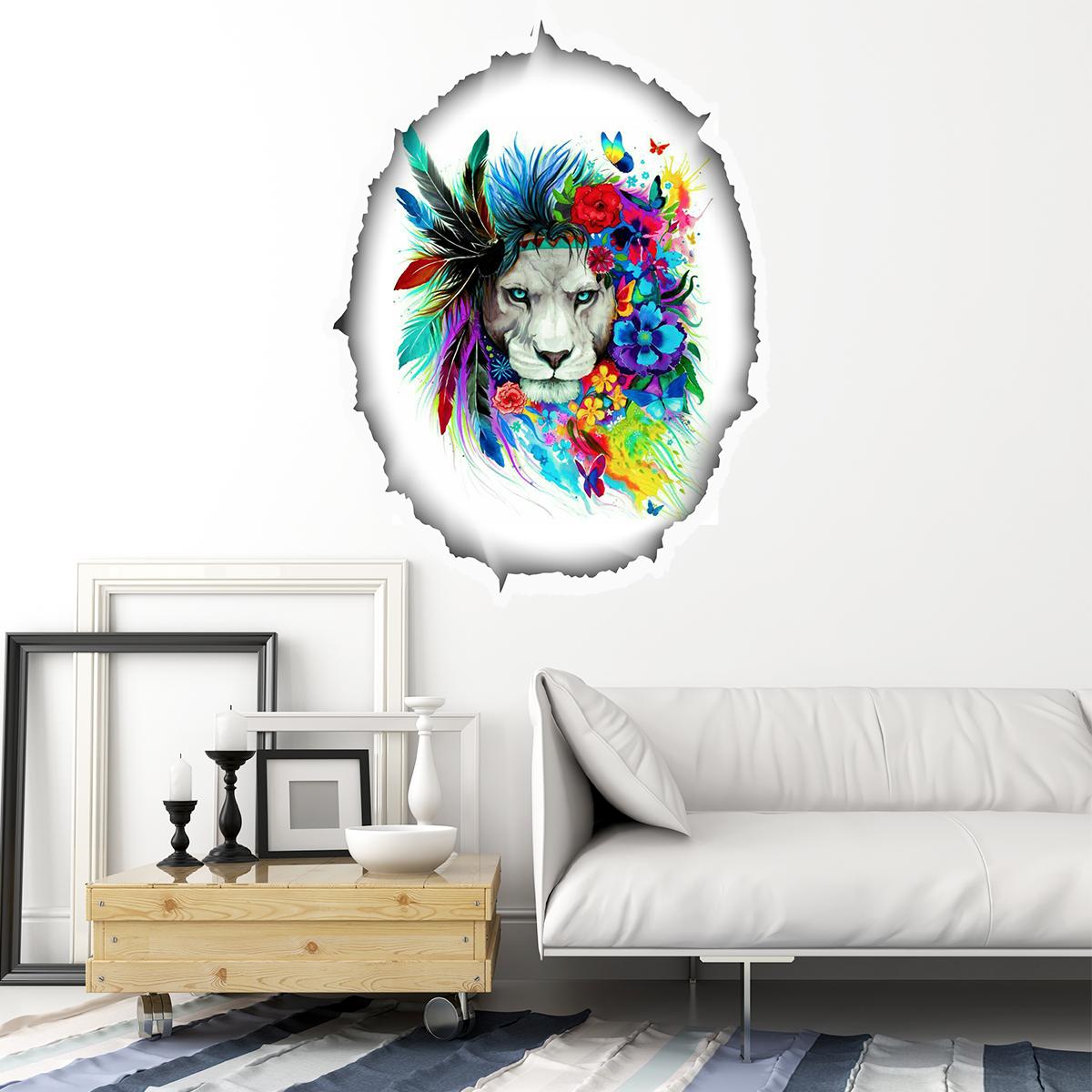 sticker trompe l 39 oeil lion le roi de la jungle stickers. Black Bedroom Furniture Sets. Home Design Ideas