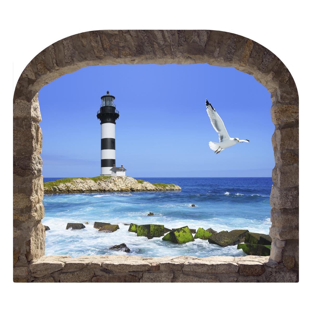 Sticker muraux trompe l 39 oeil sticker mural phare et mouette ambiance - Stickers muraux trompe l oeil ...