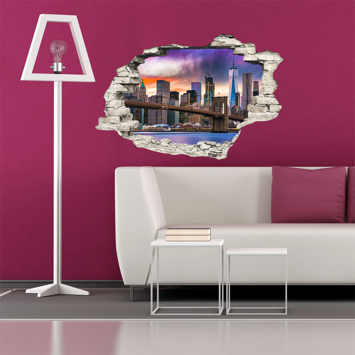 sticker trompe l 39 oeil new york dans toute sa splendeur. Black Bedroom Furniture Sets. Home Design Ideas