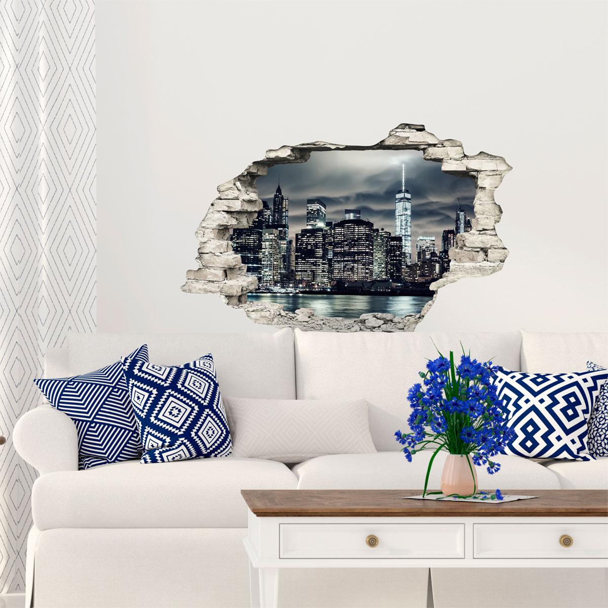 sticker trompe l 39 oeil nuit magique new york stickers villes et voyages new york ambiance. Black Bedroom Furniture Sets. Home Design Ideas