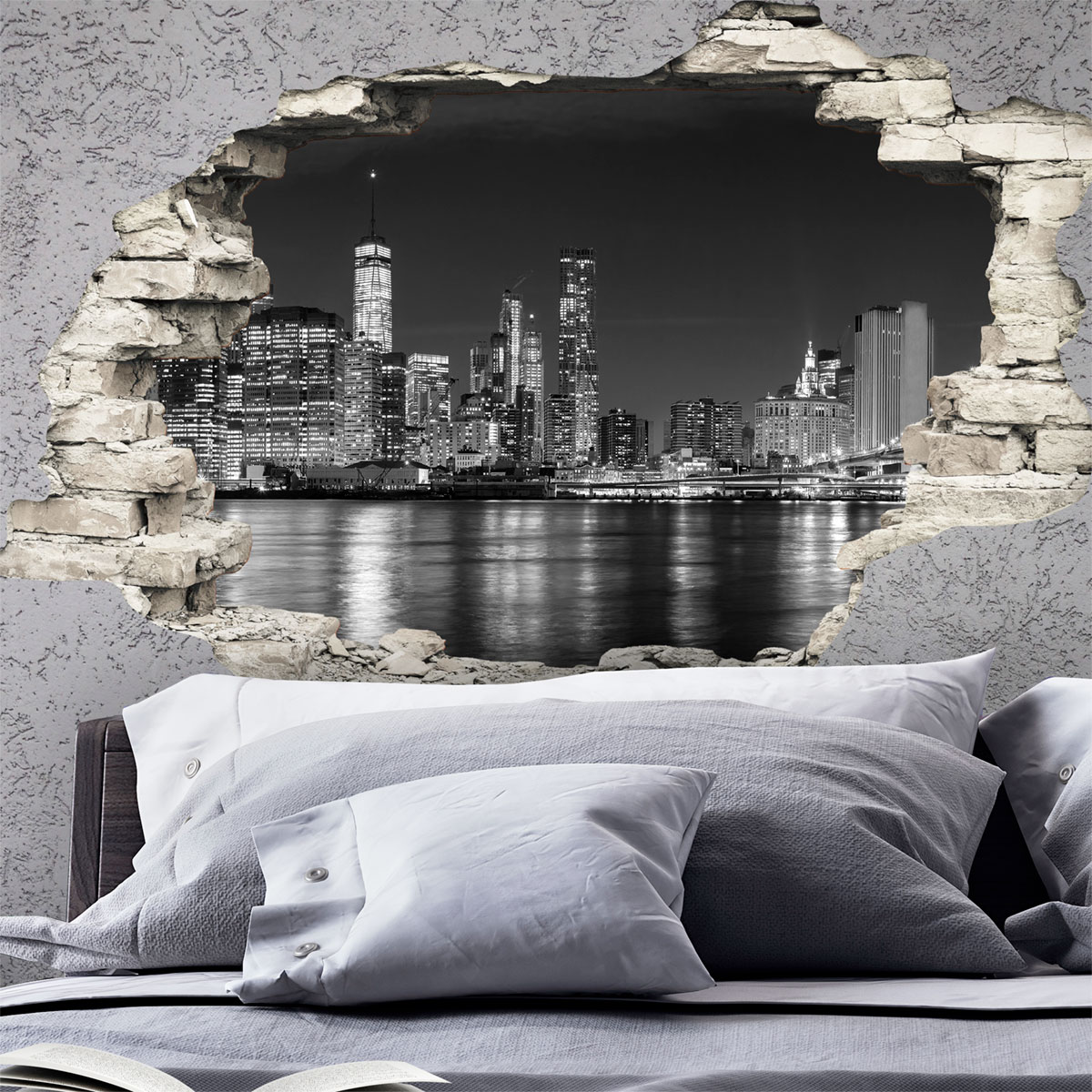 sticker trompe l 39 oeil nuit sur new york stickers villes et voyages new york ambiance sticker. Black Bedroom Furniture Sets. Home Design Ideas