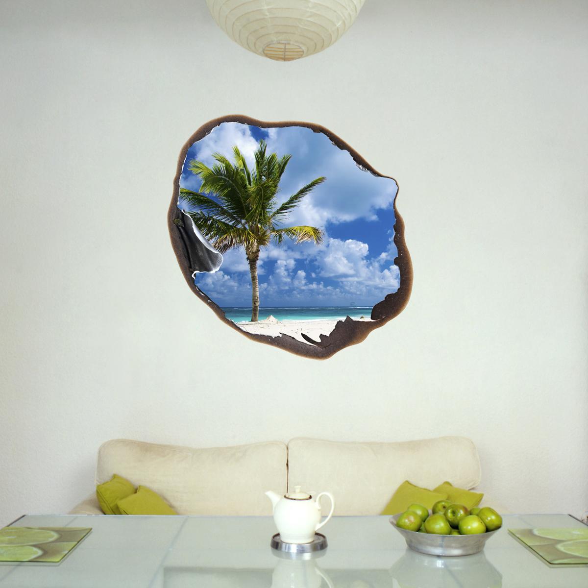 sticker muraux trompe loeil sticker mural palm et le ciel dans le trou