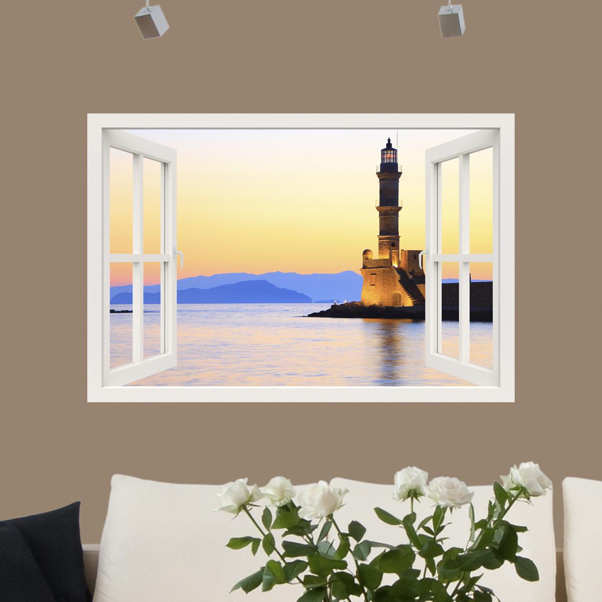 Sticker muraux trompe l 39 oeil sticker mural phare et le for Deco fausse fenetre