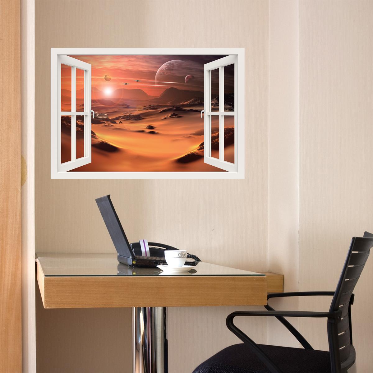 sticker muraux trompe l 39 oeil sticker mural plan te. Black Bedroom Furniture Sets. Home Design Ideas