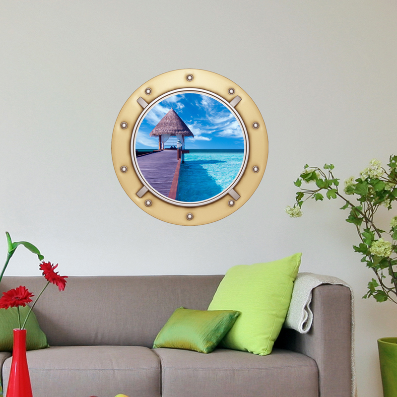 sticker muraux trompe l'oeil - sticker mural ponton sur la mer 2