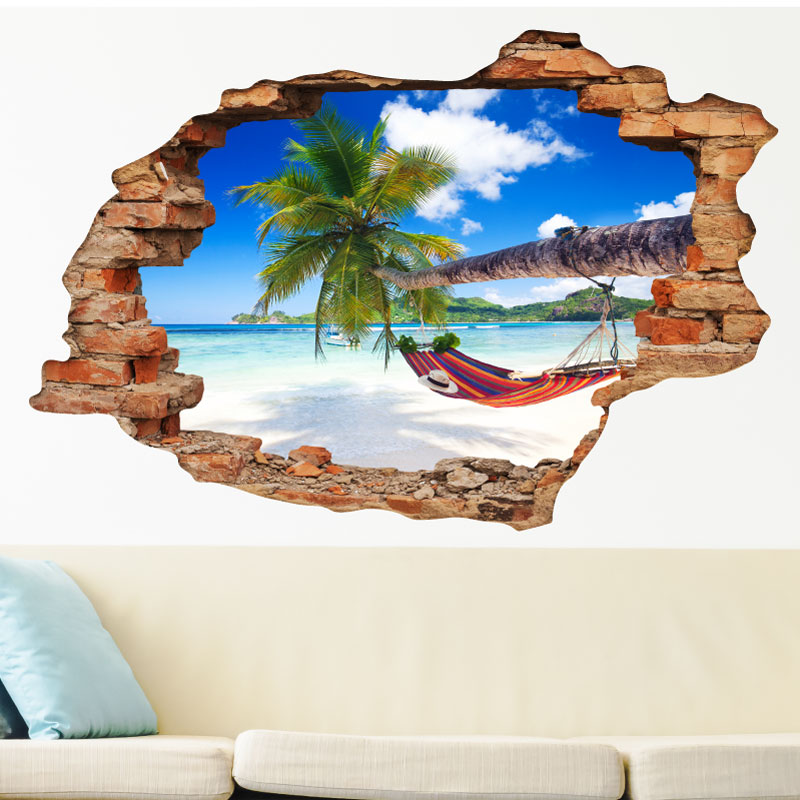 Sticker Trompe L 39 Oeil Repos Paradisiaque Stickers Nature Arbres Ambiance Sticker