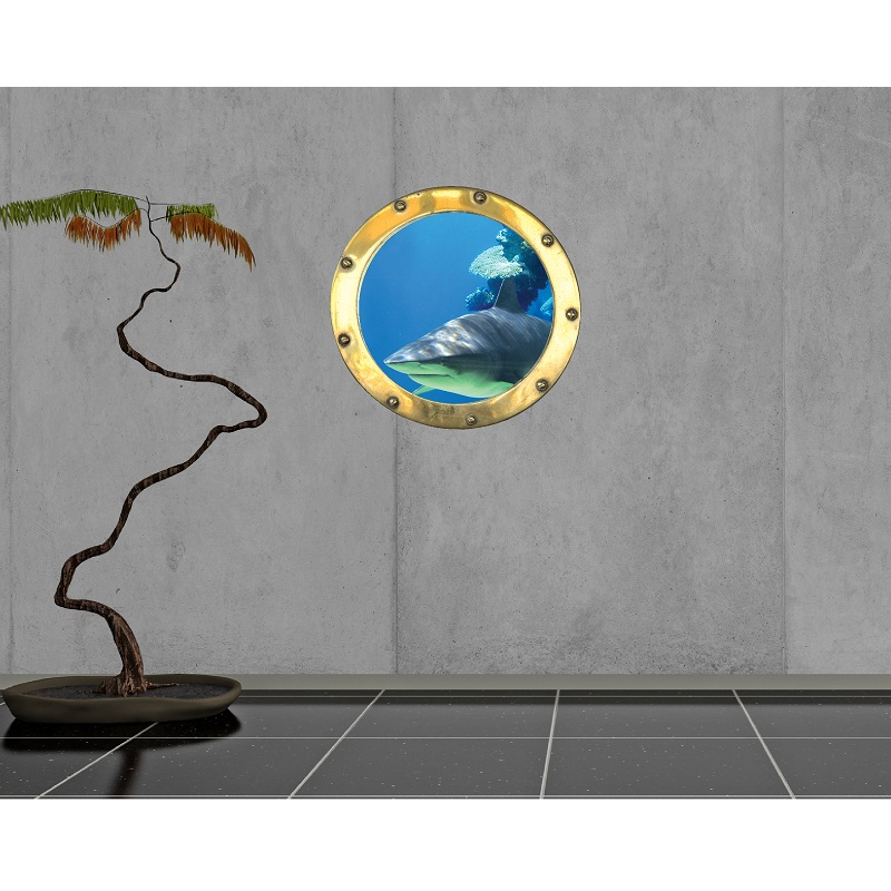 mer tropicale stickers mural trompe l 39 oeil. Black Bedroom Furniture Sets. Home Design Ideas