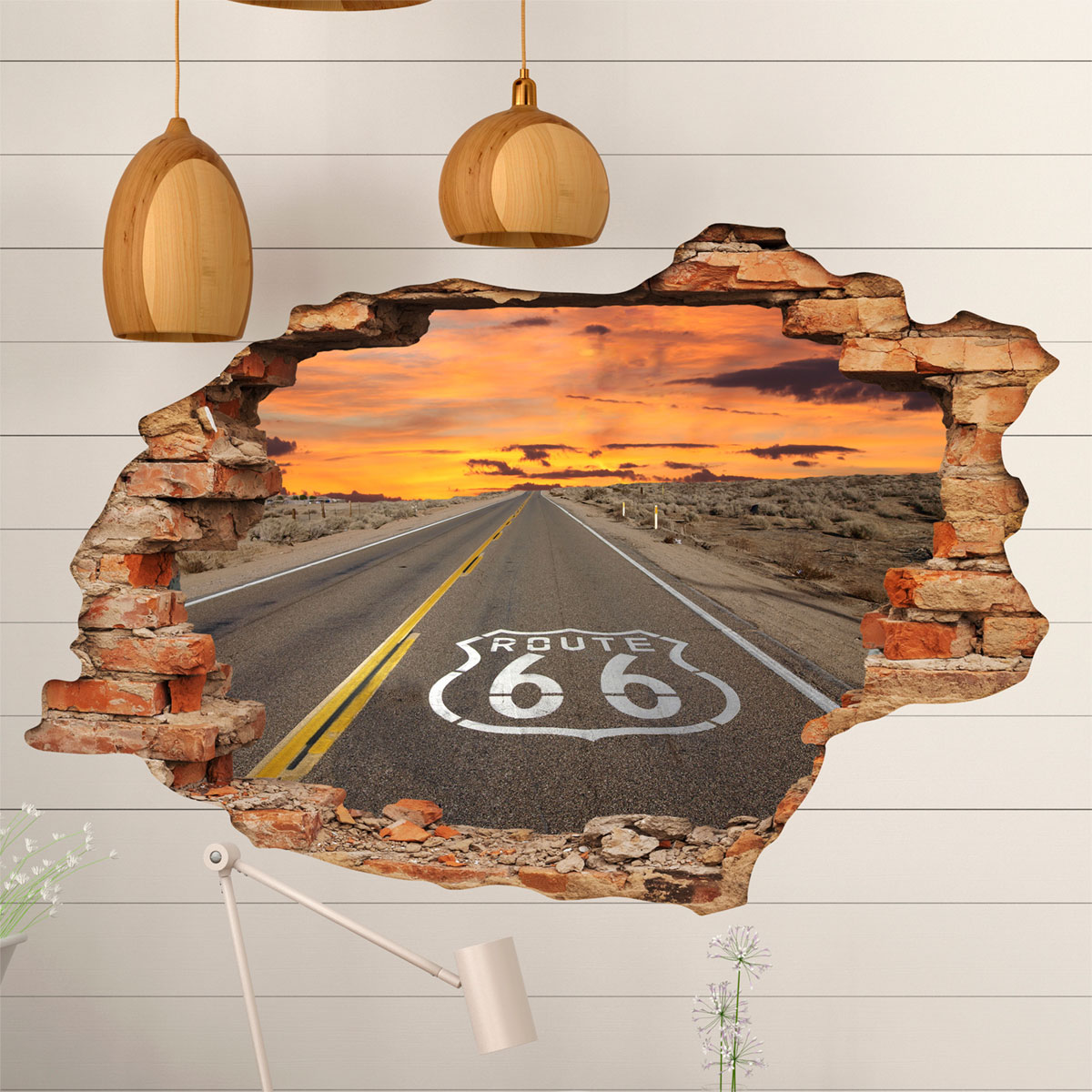 Sticker trompe l 39 oeil route 66 stickers nature arbres - Poster wanddurchbruch ...