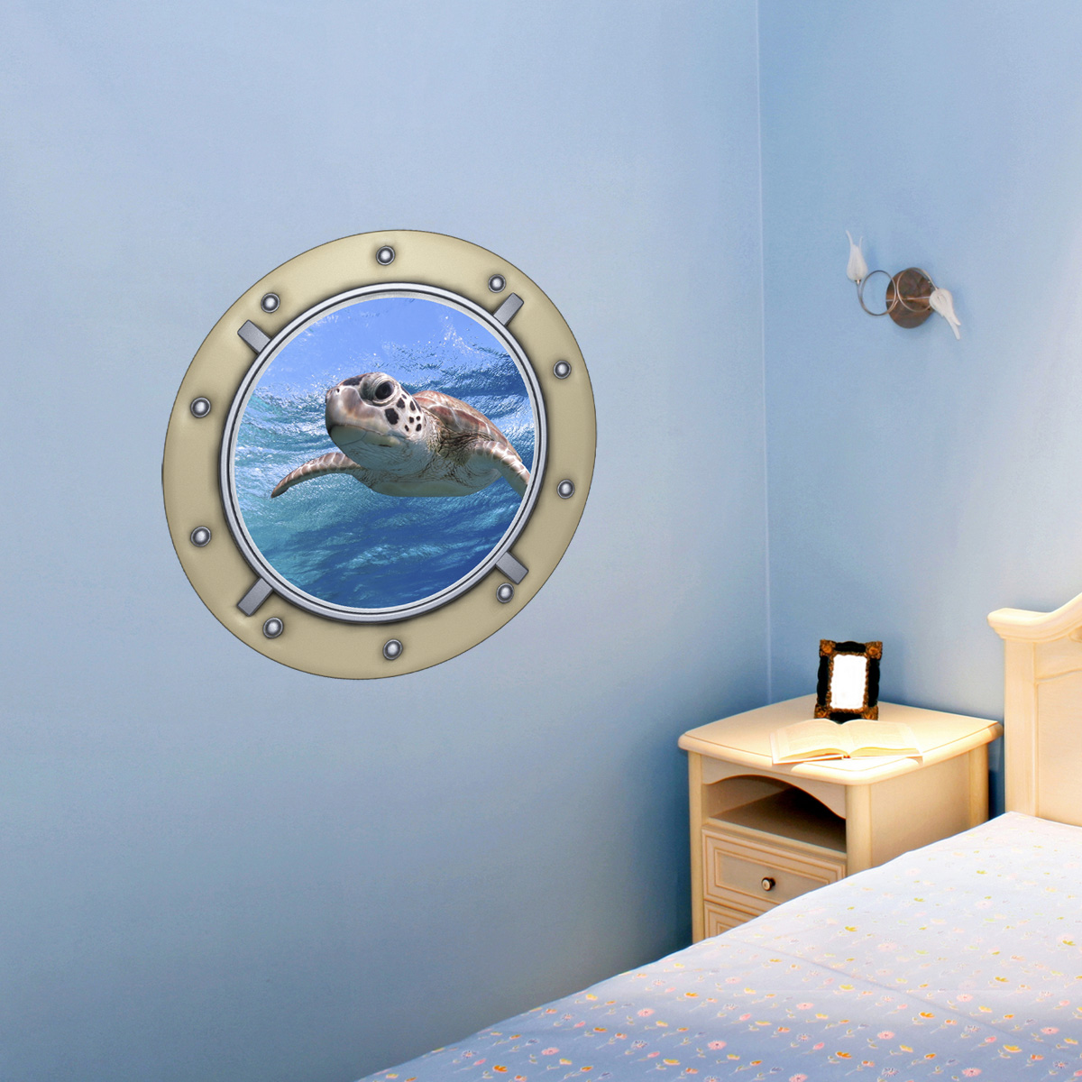 Sticker muraux trompe l 39 oeil sticker mural tortue de mer for Trompe l oeil mural interieur