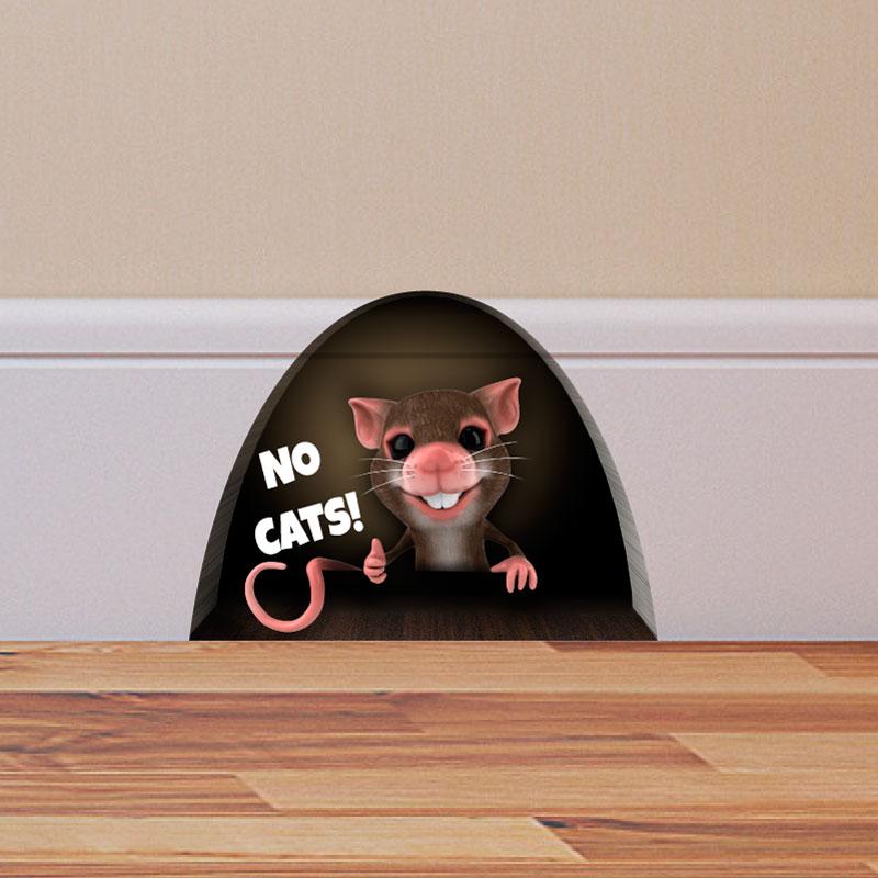 Sticker trompe l 39 oeil trou de souris no cats stickers animaux animaux de la ferme ambiance - Stickers muraux trompe l oeil ...