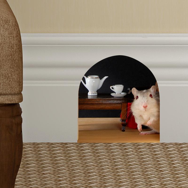 sticker trompe l 39 oeil trou de souris pour prendre le th stickers animaux animaux de la ferme. Black Bedroom Furniture Sets. Home Design Ideas