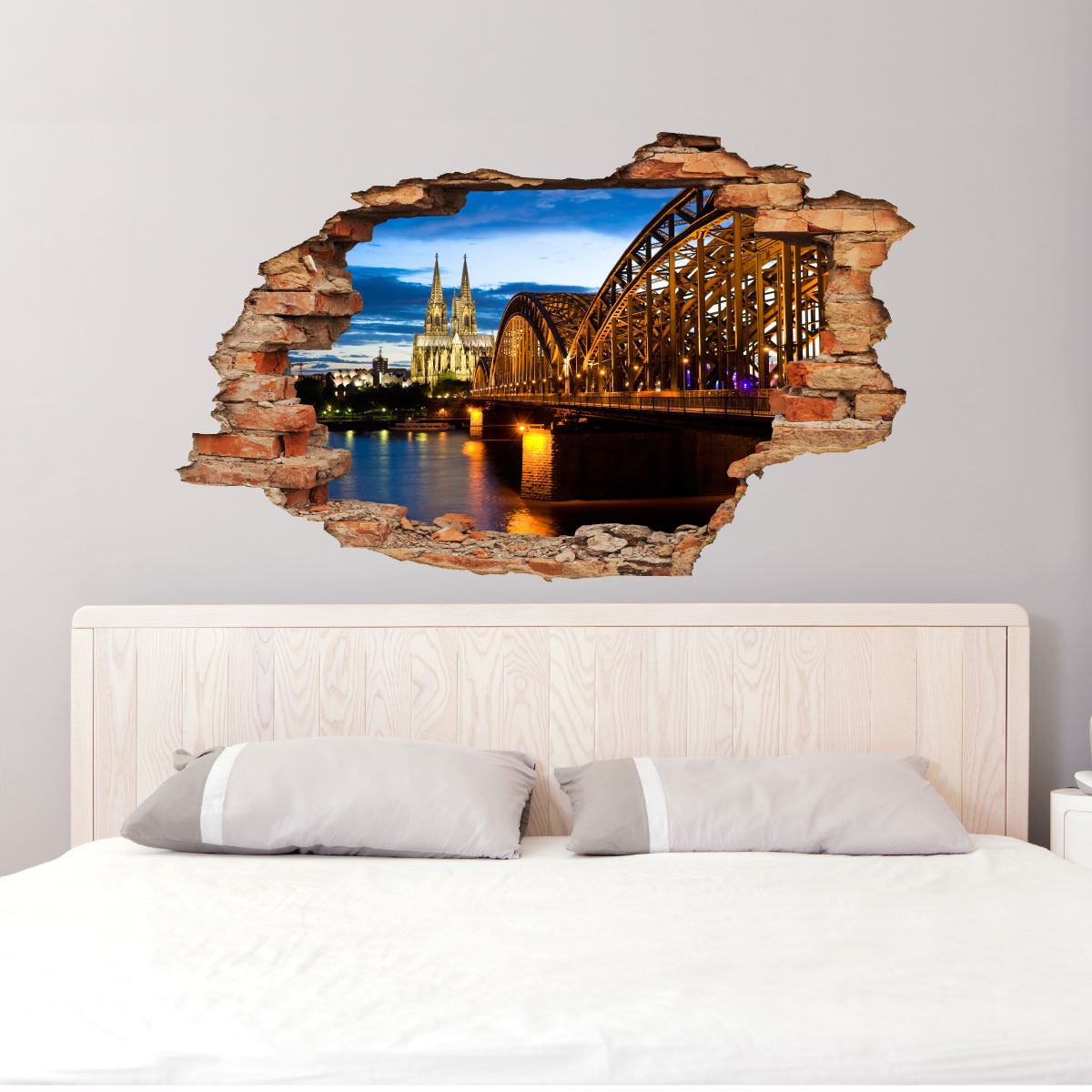 sticker trompe l 39 oeil vue sur barcelone sticker chambre t tes de lit ambiance sticker. Black Bedroom Furniture Sets. Home Design Ideas