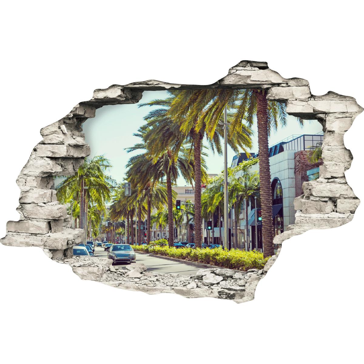 sticker trompe l 39 oeil vue sur hollywood boulevard stickers villes et voyages pays et voyages. Black Bedroom Furniture Sets. Home Design Ideas