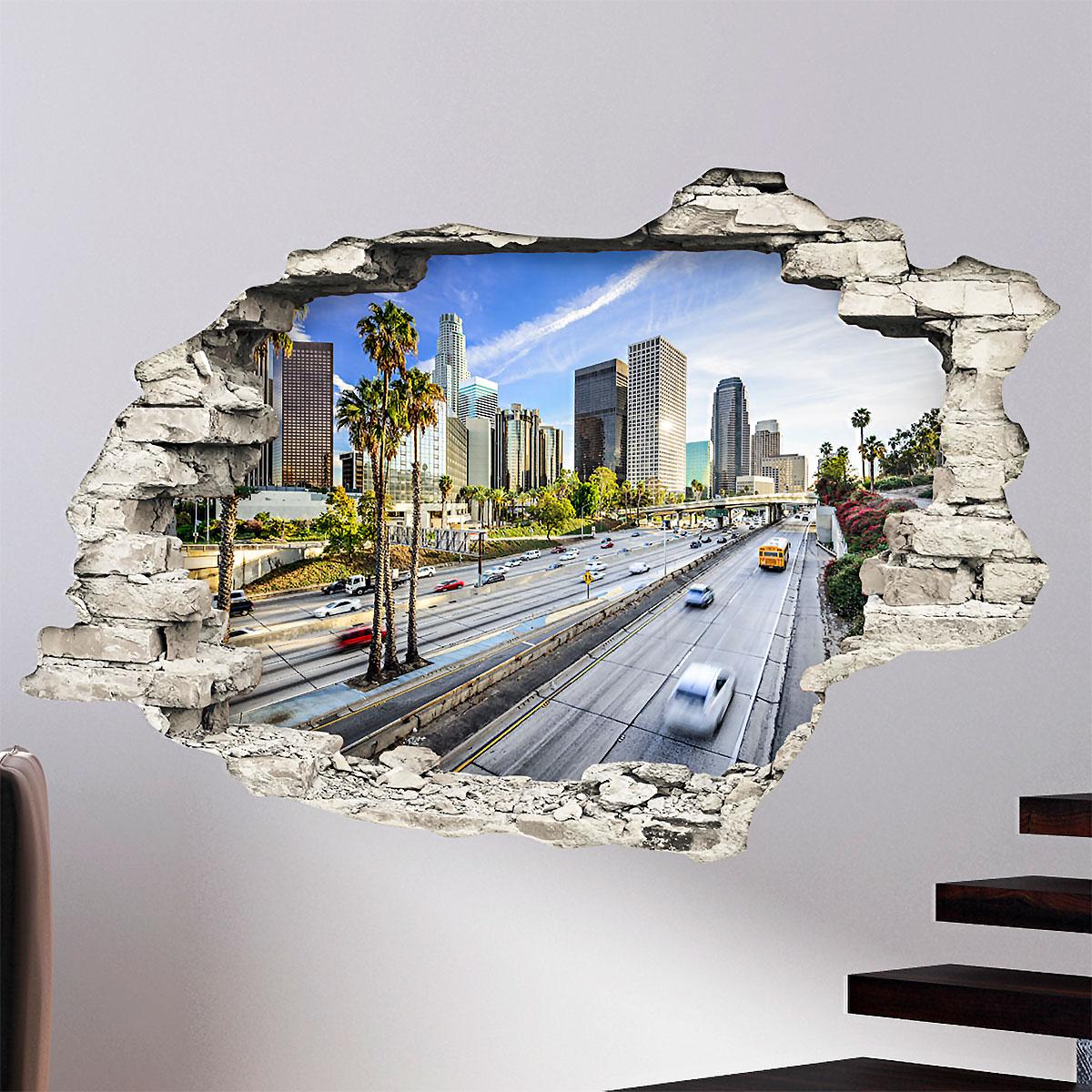sticker trompe l 39 oeil vue sur l 39 autoroute de l a stickers nature arbres ambiance sticker. Black Bedroom Furniture Sets. Home Design Ideas
