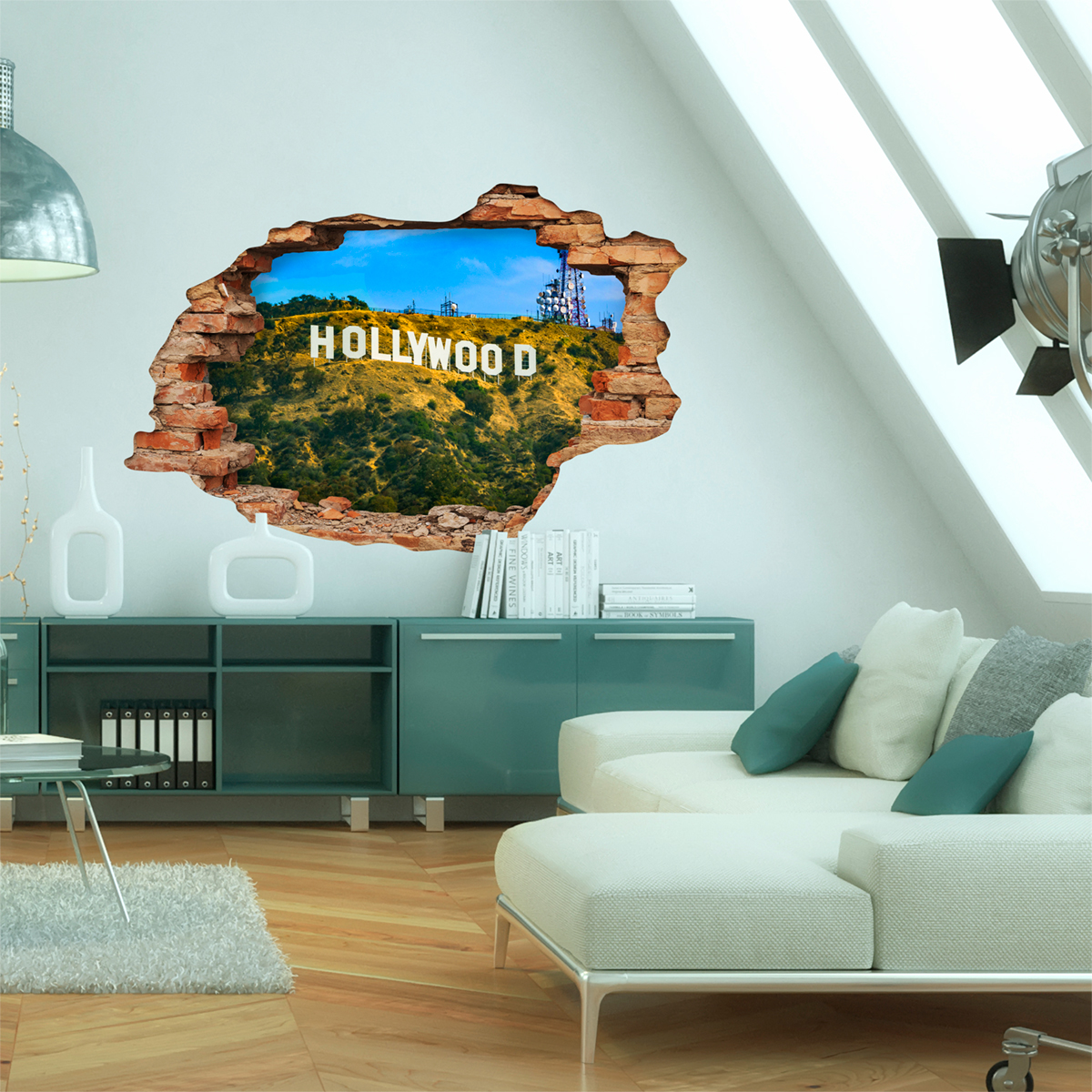 sticker trompe l 39 oeil vue sur la colline d 39 hollywood stickers villes et voyages pays et. Black Bedroom Furniture Sets. Home Design Ideas