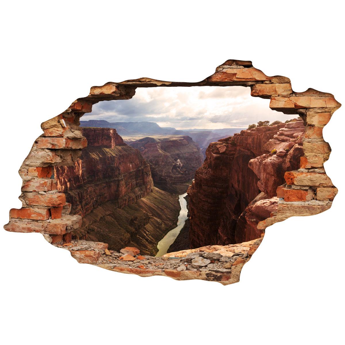 sticker trompe l 39 oeil vue sur le grand canyon stickers villes et voyages pays et voyages. Black Bedroom Furniture Sets. Home Design Ideas
