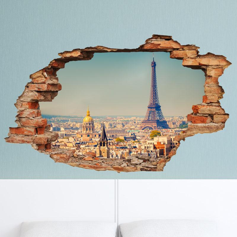 sticker trompe l 39 oeil vue sur paris sticker villes et voyages paris ambiance sticker. Black Bedroom Furniture Sets. Home Design Ideas