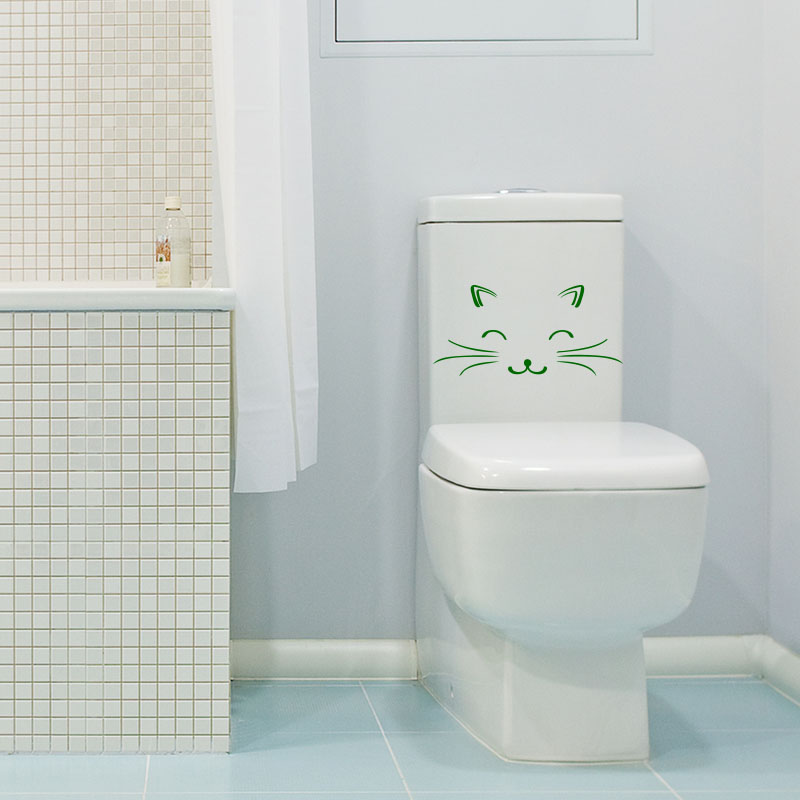 Sticker un chat qui sourit stickers toilettes abattants wc ambiance sticker - Abattant wc qui bouge ...