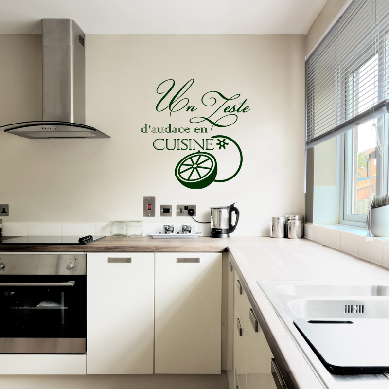 Sticker un zeste d 39 audace en cuisine design stickers for Stickers cuisine design
