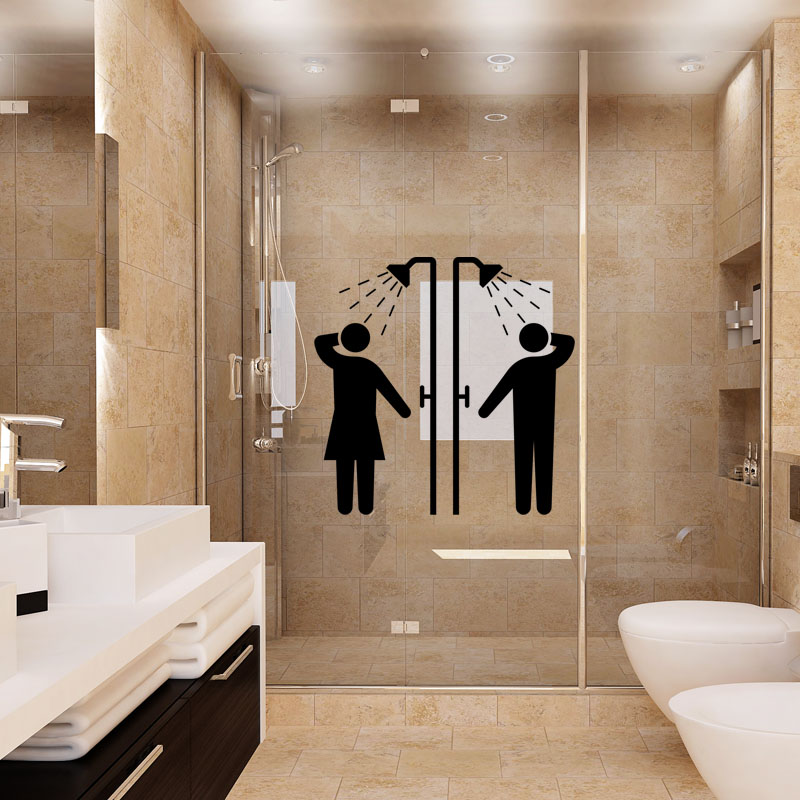 sticker une bonne douche stickers salle de bain porte de douche ambiance sticker. Black Bedroom Furniture Sets. Home Design Ideas