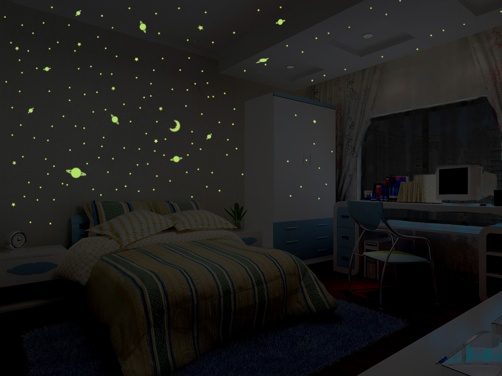 Sticker univers environ 150 toiles et plan tes - Etoiles fluorescentes plafond chambre ...