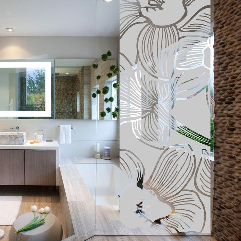 Stickers muraux pour portes de douche fleur d 39 orchid e for Vitre pour salle de bain