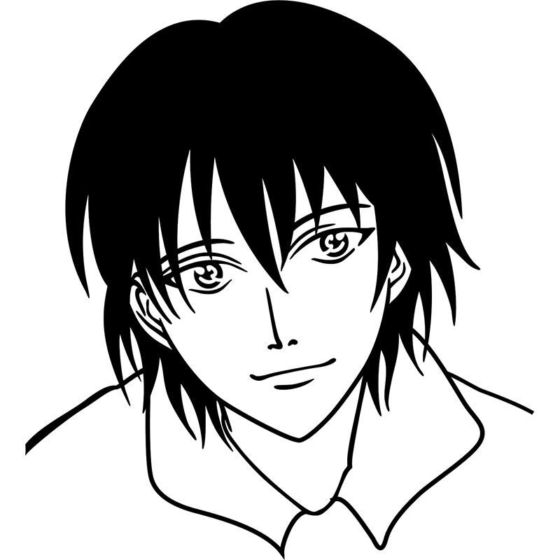 Sticker visage d 39 une personnage manga stickers dessins anim s mangas ambiance sticker - Comment colorier un manga ...