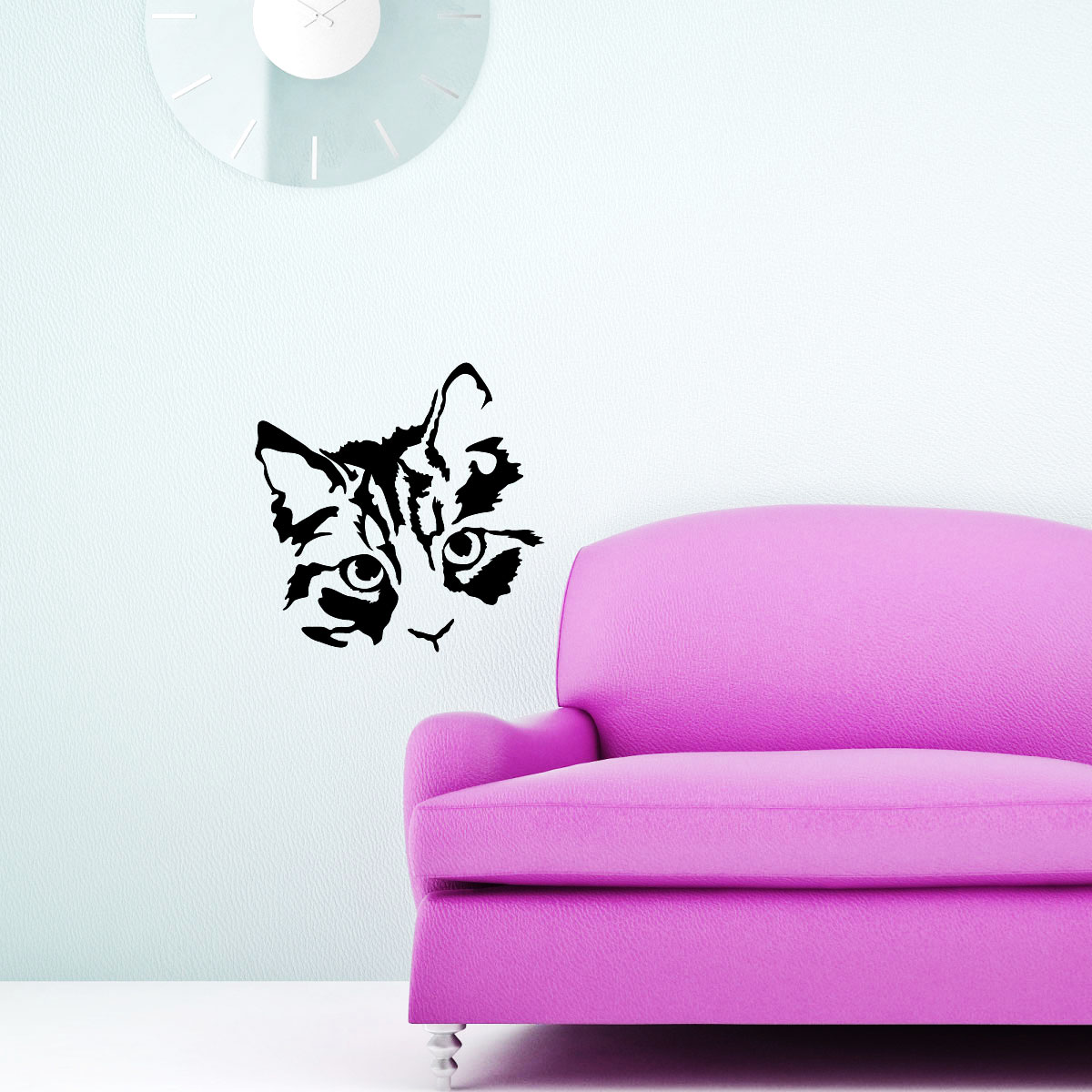stickers muraux animaux sticker visage de chat ambiance. Black Bedroom Furniture Sets. Home Design Ideas