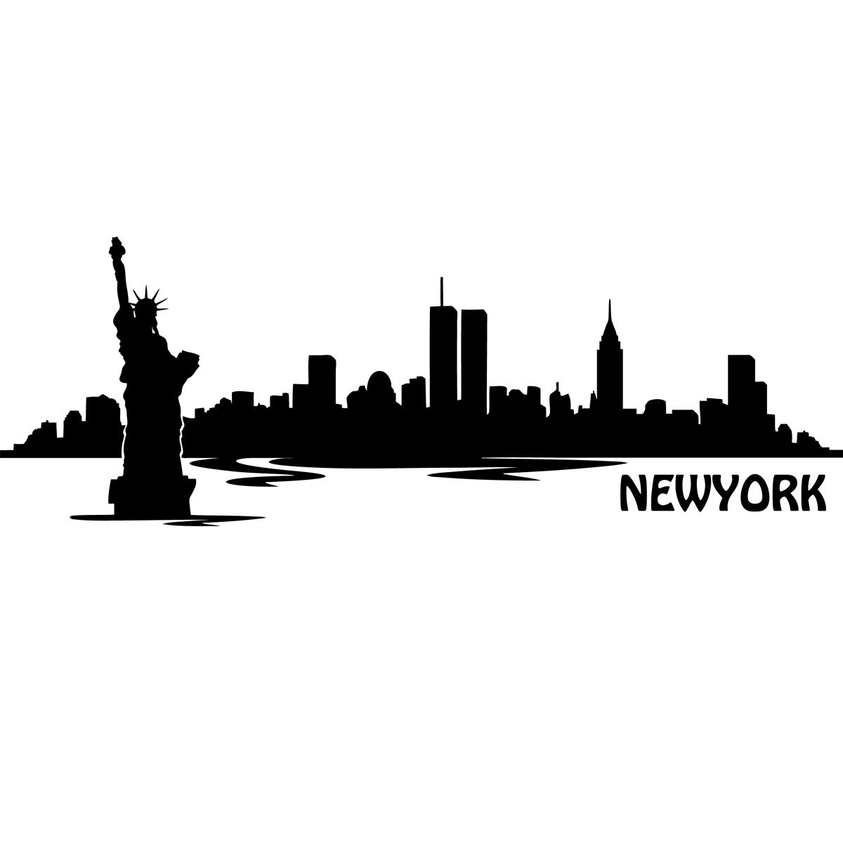 stickers muraux new york sticker vue sur new york ambiance. Black Bedroom Furniture Sets. Home Design Ideas