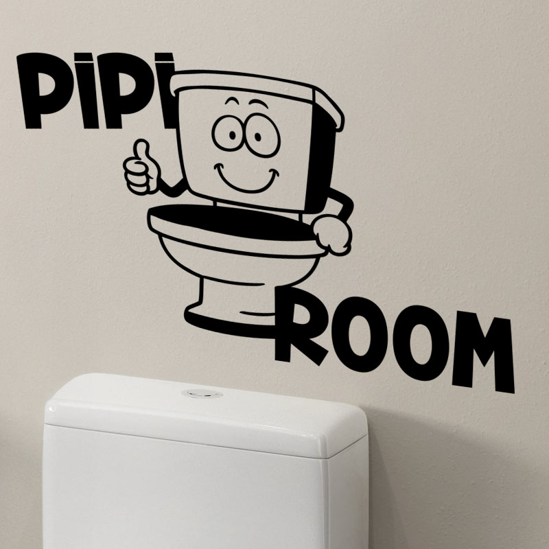 Sticker wc pipi room stickers toilettes porte ambiance for Stickers wc porte