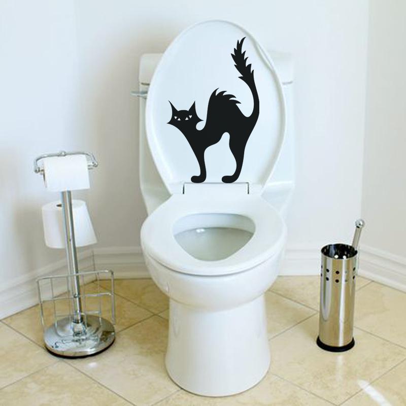 Stickers muraux pour wc sticker mural silhouette chat - Decorer ses toilettes de facon originale ...