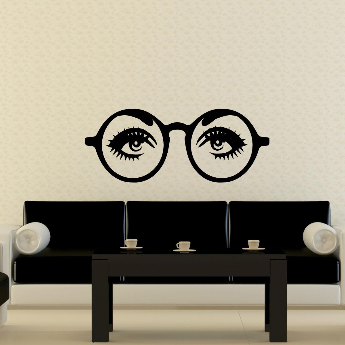 stickers muraux design sticker mural yeux avec des lunettes ambiance. Black Bedroom Furniture Sets. Home Design Ideas