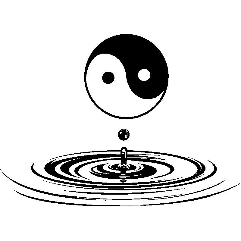 Sticker yin yang zen stickers art et design bulles et for Salle de bain yin yang