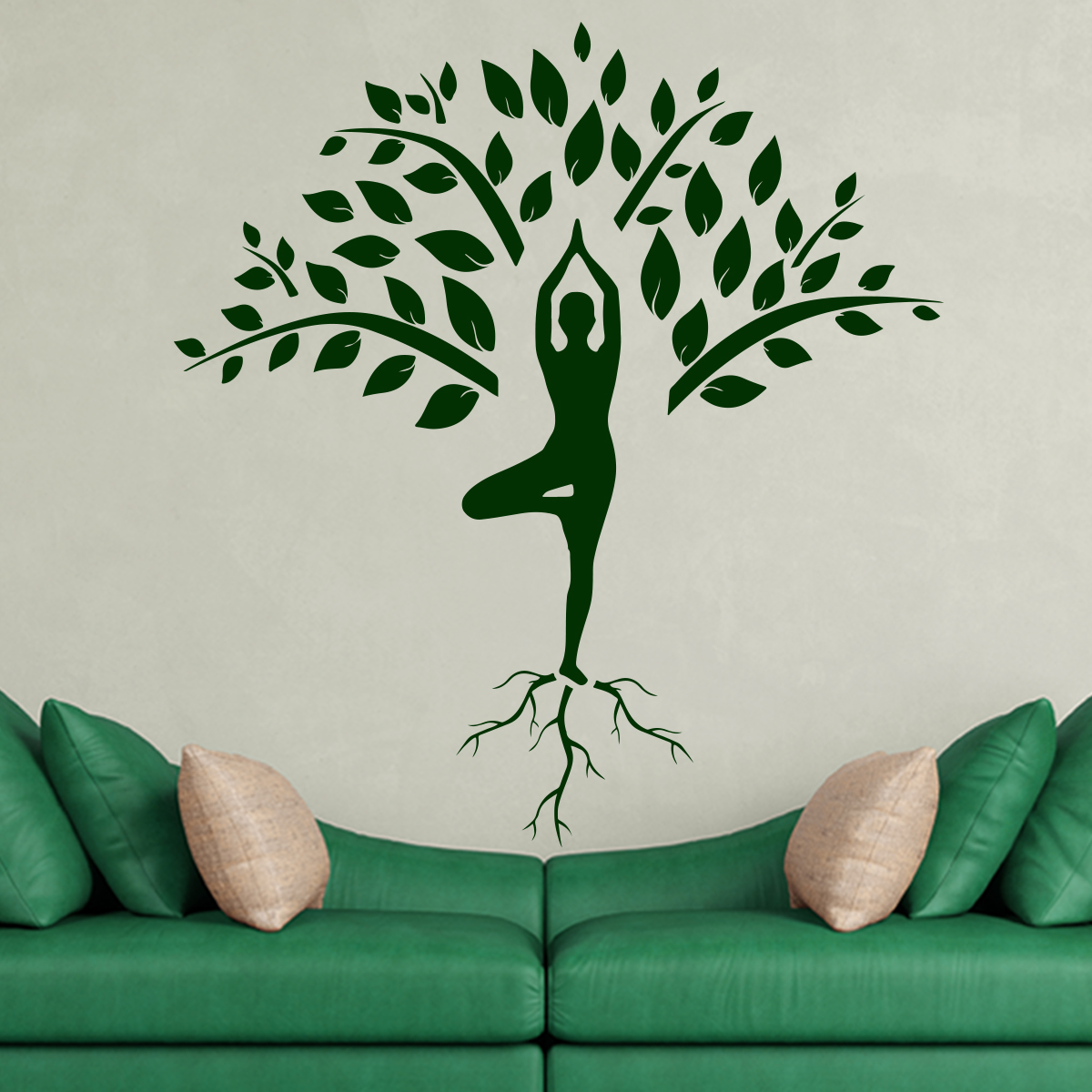 Sticker Yoga Arbre Et Silhouette Zen Stickers Nature Arbres