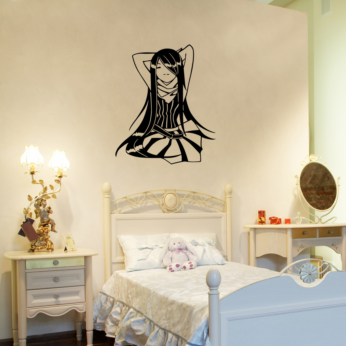 stickers muraux pour les enfants sticker zen fille. Black Bedroom Furniture Sets. Home Design Ideas