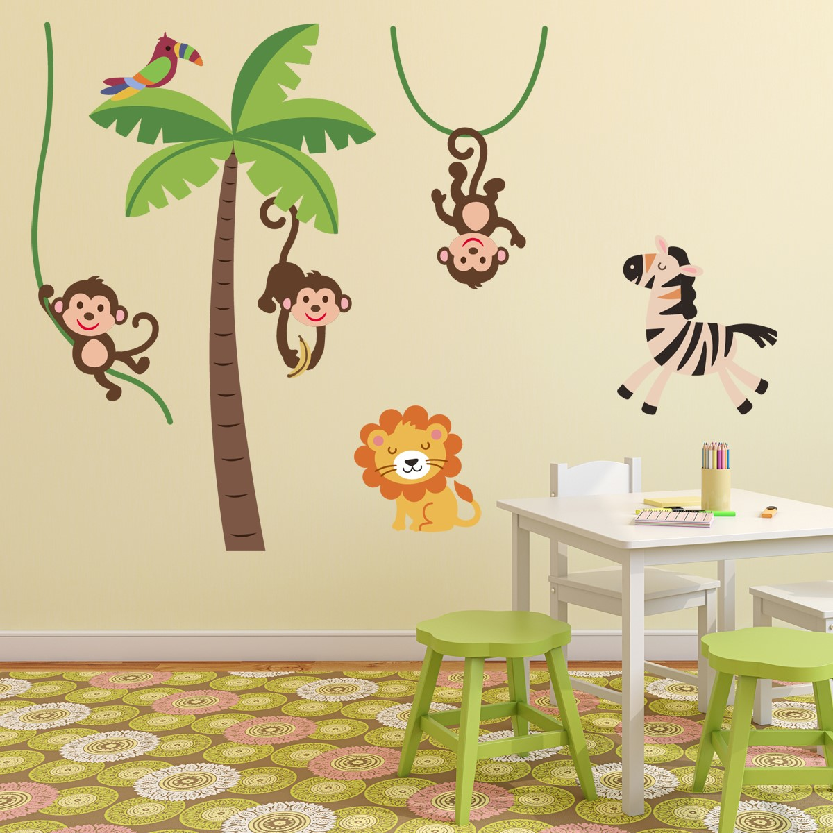 Stickers Muraux Animaux Sticker Jungle Heureux