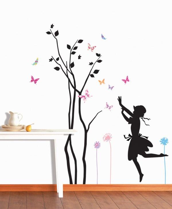 Arbre petite fille et papillons stickers deco enfants - Stickers petite fille ...