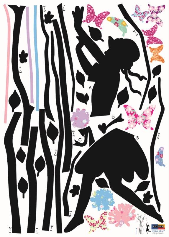 arbre petite fille et papillons stickers deco enfants. Black Bedroom Furniture Sets. Home Design Ideas