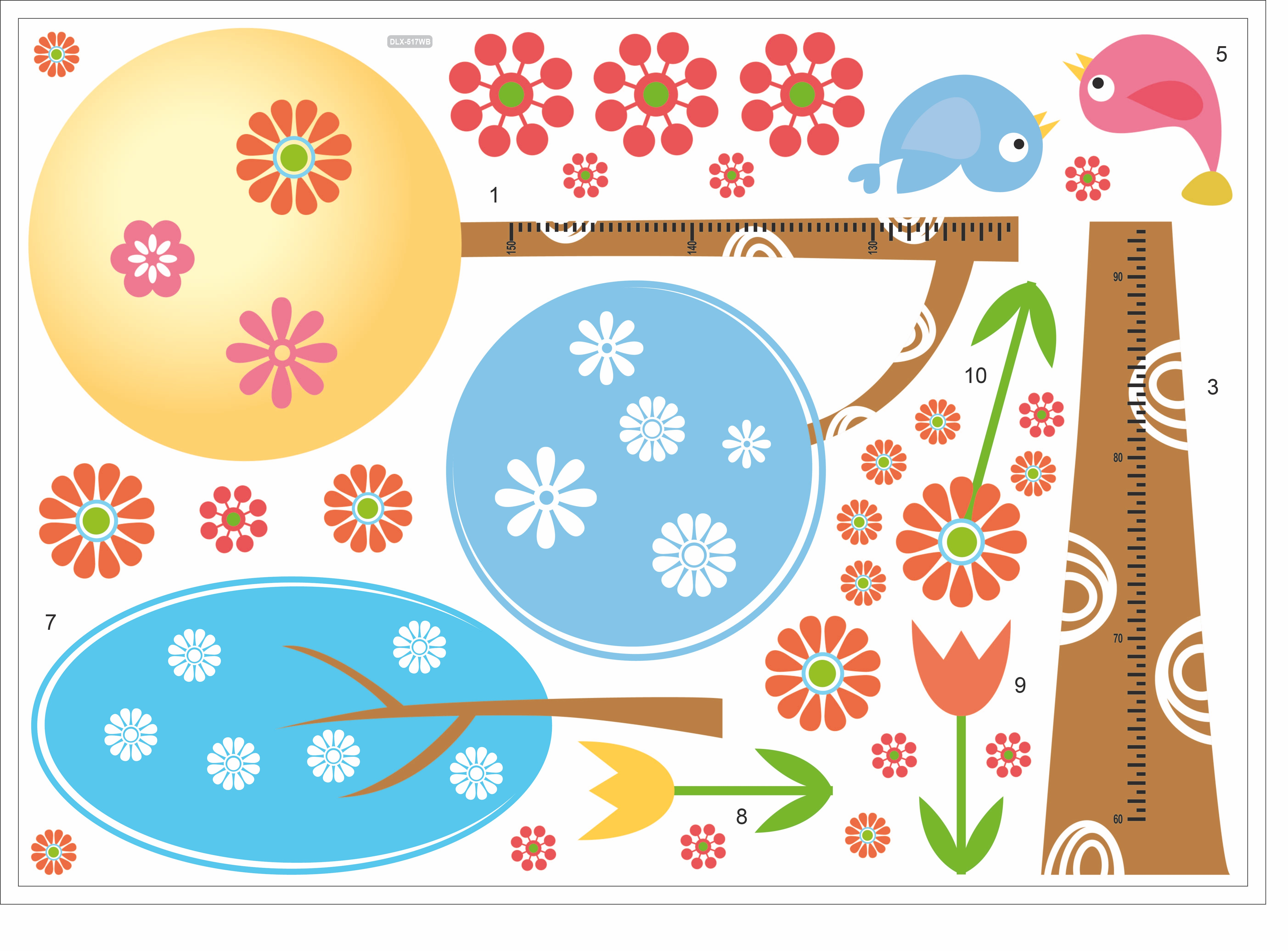 stickers arbres designs arrondis et fleurs ambiance sticker j dlx517w stickers muraux. Black Bedroom Furniture Sets. Home Design Ideas