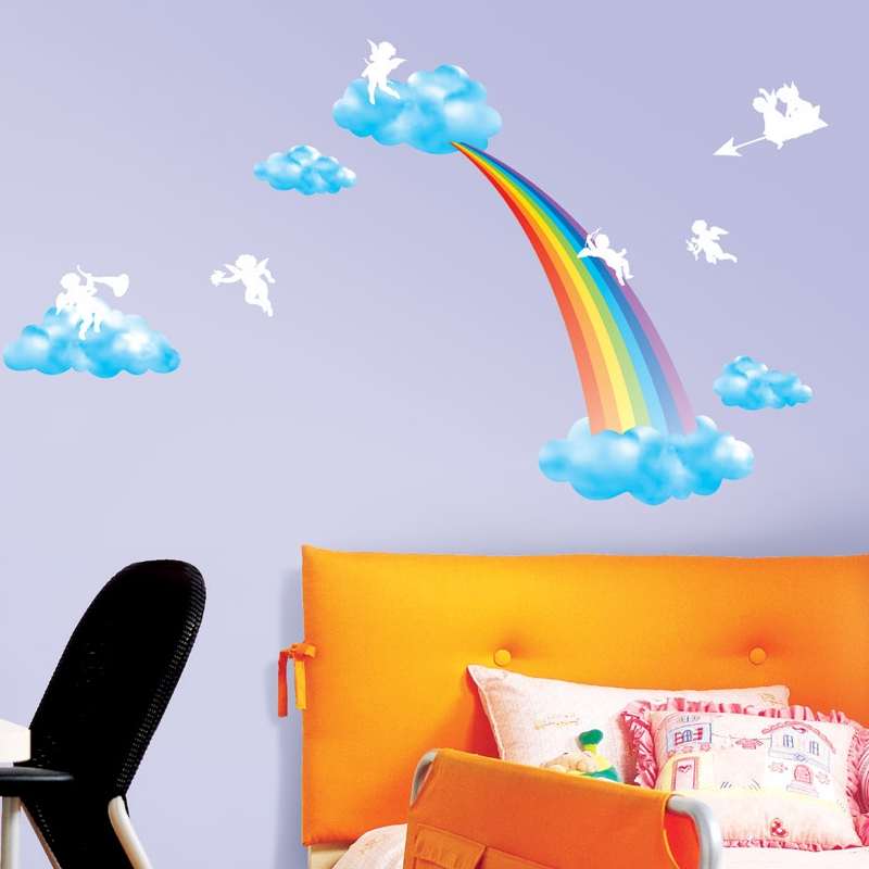 sticker arc en ciel anges stickers enfants ambiance. Black Bedroom Furniture Sets. Home Design Ideas