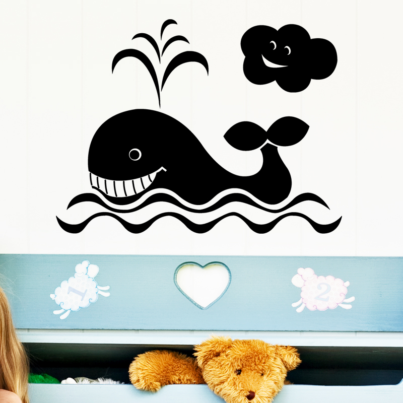stickers baleine mer et nuage. Black Bedroom Furniture Sets. Home Design Ideas