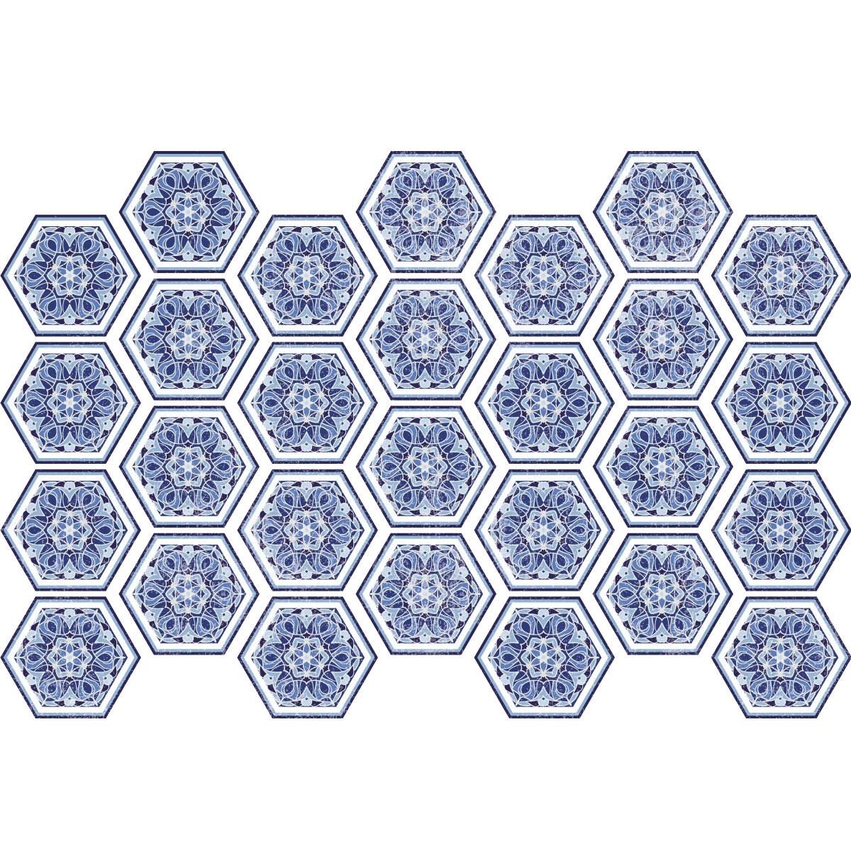 stickers carreaux de ciment hexagones bois bleut salle. Black Bedroom Furniture Sets. Home Design Ideas