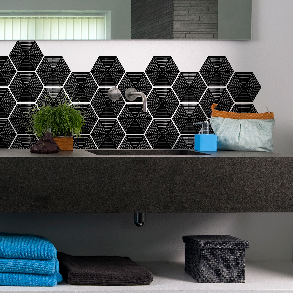 Stickers carreaux de ciment hexagones design noir salle for Carreaux de ciment