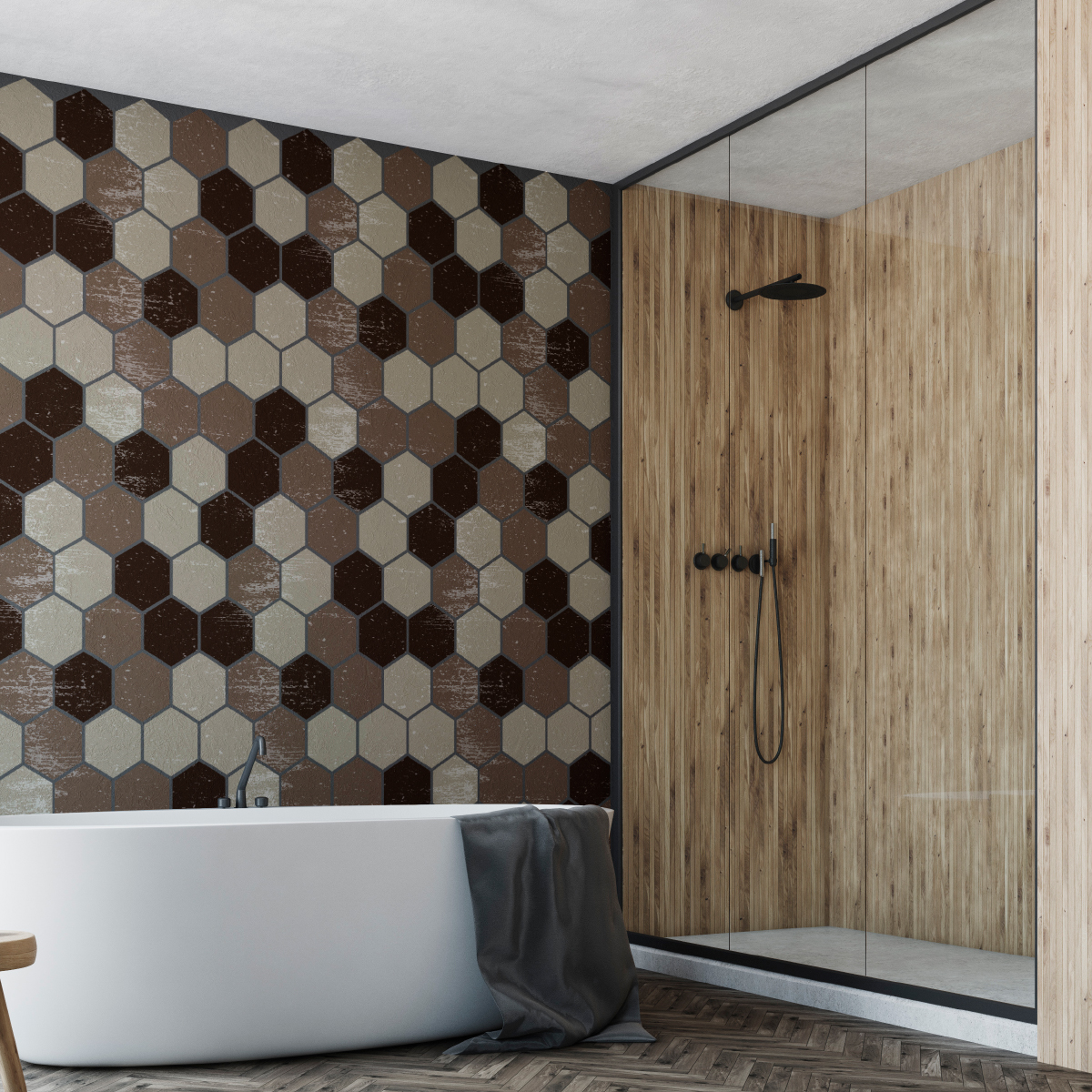 stickers carreaux de ciment hexagones shades of brown salle de bain et wc salle de bain. Black Bedroom Furniture Sets. Home Design Ideas