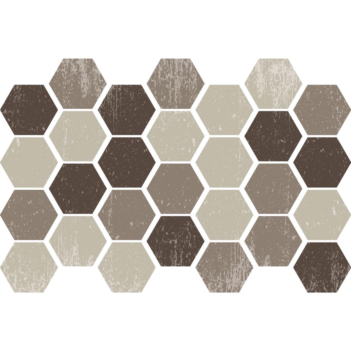 Stickers carreaux de ciment hexagones shades of brown for Stickers carreaux ciment