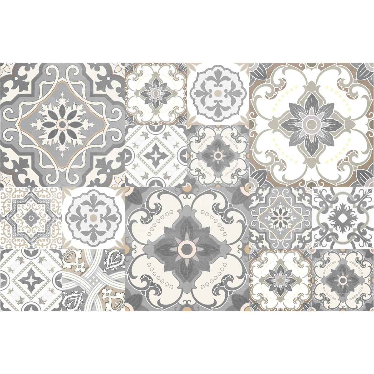 stickers carreaux de ciment sol agapito anti d rapant 60. Black Bedroom Furniture Sets. Home Design Ideas