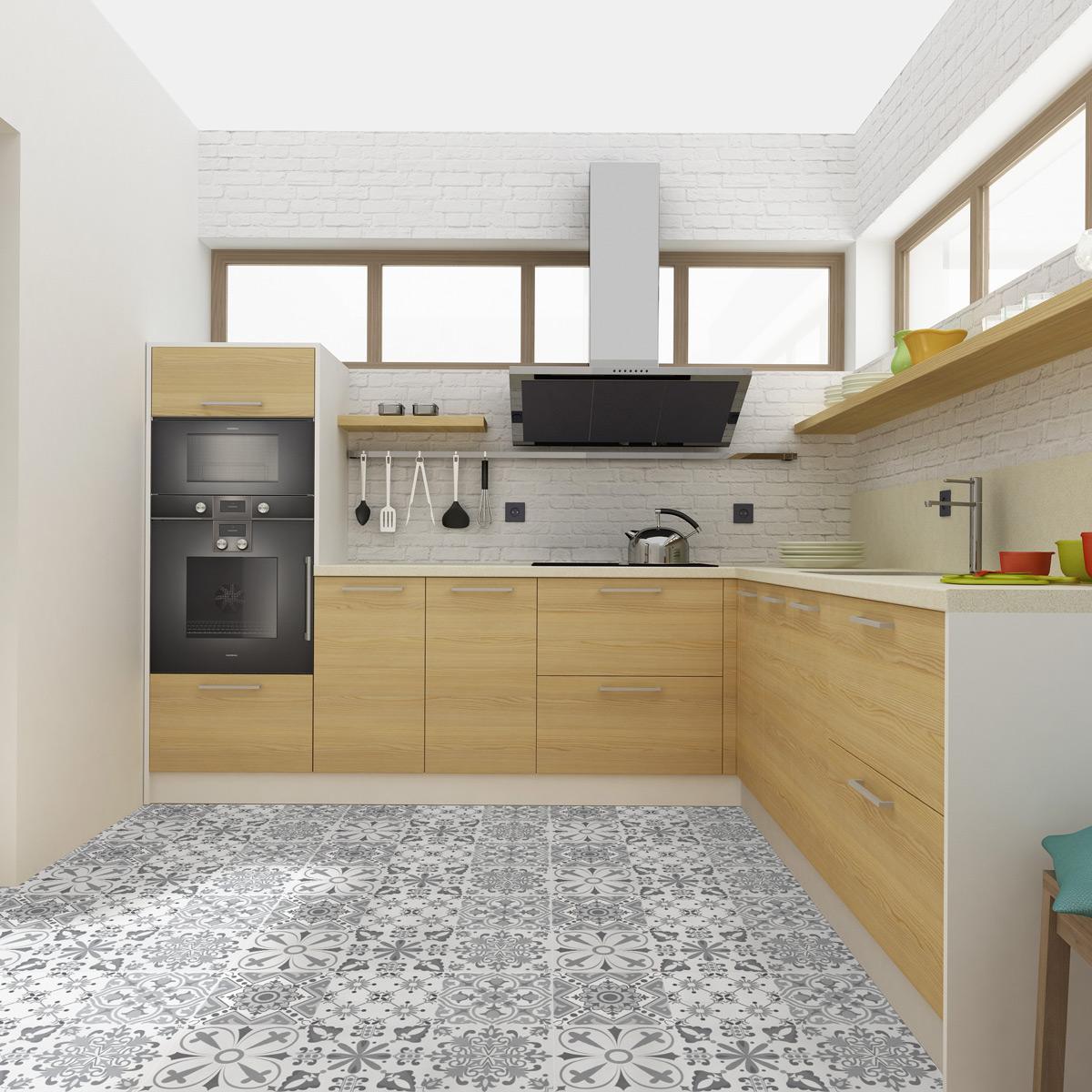 stickers carreaux de ciment sol amos anti d rapant 60 x 90 cm cuisine carrelages ambiance. Black Bedroom Furniture Sets. Home Design Ideas