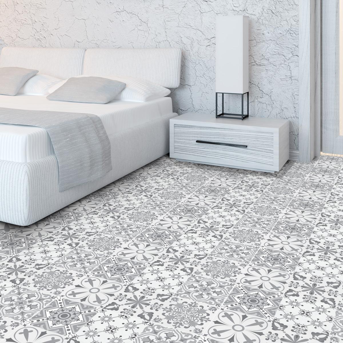 stickers carreaux de ciment sol amos anti d rapant 60 x. Black Bedroom Furniture Sets. Home Design Ideas